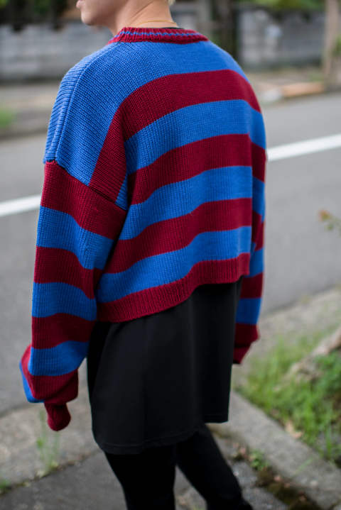 RAF SIMONS / Disturebed striped sweater with pocket