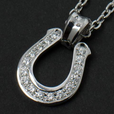 Horseshoe Large Pendant - Silver with/Clear CZ ホースシューラージペンダント