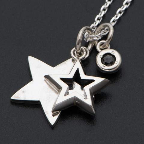 Stars & Black Diamond Necklace - Silver【Safari1月号,LEON1月号,OCEANS1月号,SENSE12月号掲載】