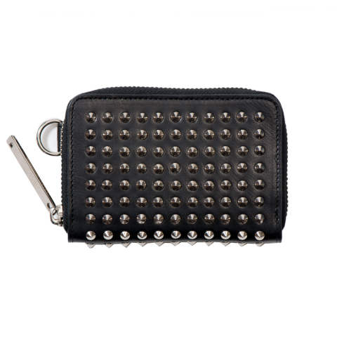 Leather coin/card/key case fold 'all-studs' pointu レザーコインカードキーケース