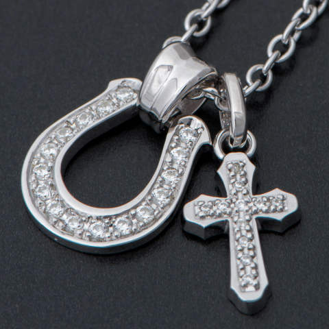 Horseshoe Large Pendant with Smooth Cross- Silver/Clear CZ ホースシューラージペンダント ウィズ スムースクロス