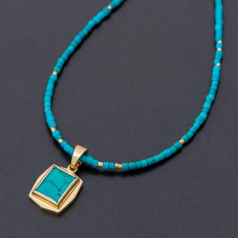 Vintage Beads Necklace Grand Blue with Square Turquoise Pendant  ヴィンテージビーズネックレスグランブルー