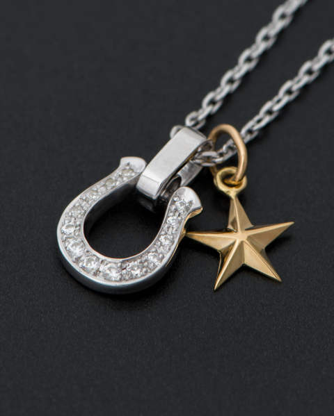 Horseshoe Amulet Clear CZ with Small Star Charm - K18Yellow Gold