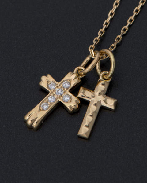 Double Cross Necklace - K18YG w/Diamond ダブルクロスネックレス LEON、Safari、 SENSE掲載 10-N1706Y8D Sympathy of Soul