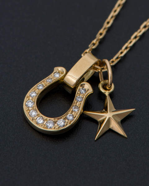 Horseshoe Amulet with Small Star Charm -K18 Yellow Gold Diamond