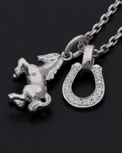 Small Horse & Horseshoe Necklace - Silver w/CZ(スモールホースアンドホースシューネックレス - シルバー w/CZ)