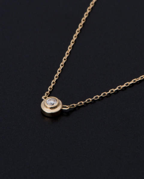 One Diamond Necklace K18 Yellow Gold With Diamond ワンダイヤモンドネックレス N1808Y8D Sympathy of Soul