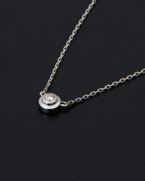 One Diamond Necklace K18 White Gold With Diamond ワンダイヤモンドネックレス N1808W8D Sympathy of Soul