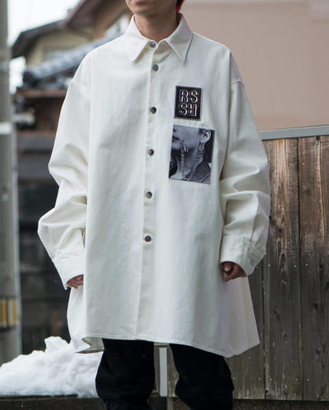 Big fit shirt with two patches White