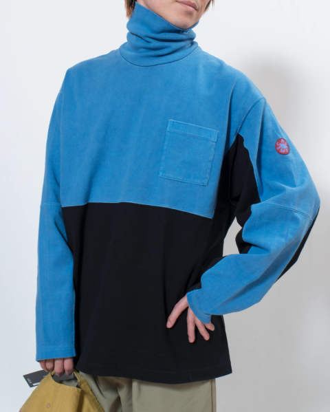 【LAST ONE(L)】Overdye turtle neck long sleeve T blue