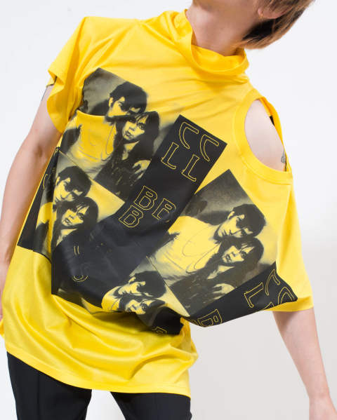 T-shirt with displaced sleeve Yellow
