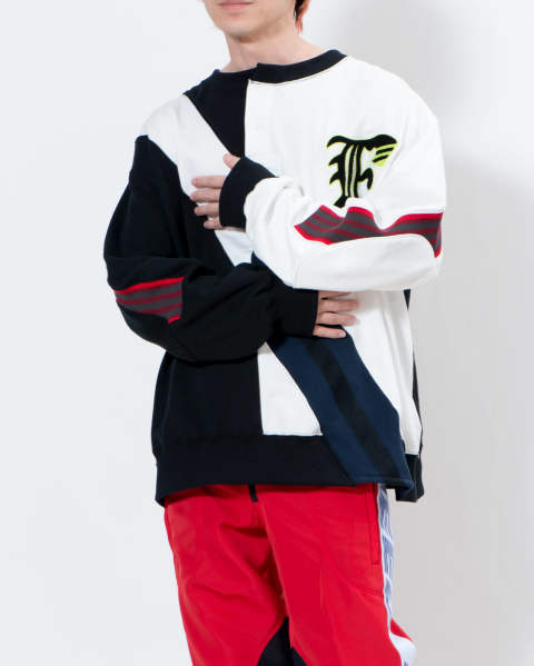 Rugby  mix rib sweat shirt off white