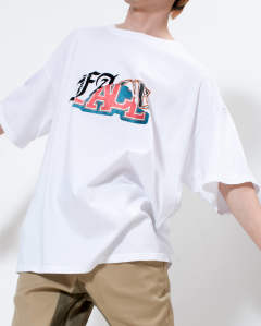 【LAST ONE】mix face big tee white