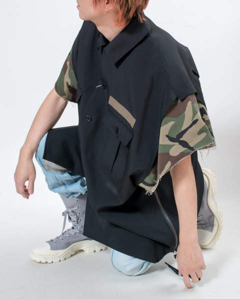 Wool×camo cut off shirt black