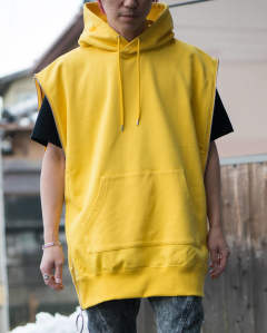zipped sleeveless sweat hoodie yellow