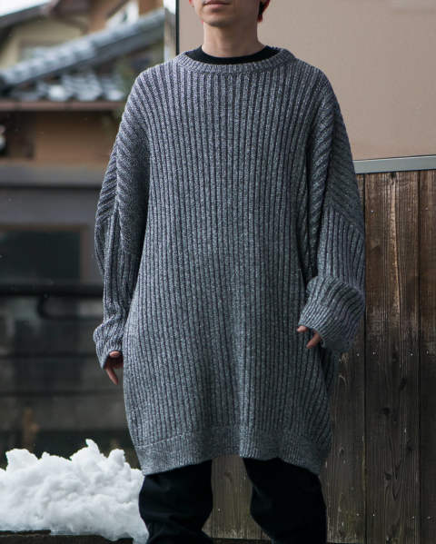 Lurex oversized sweater with 2 collars