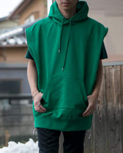 zipped sleeveless sweat hoodie green