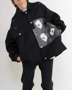 ac7f6d81b03 RAF SIMONS - Denim jacket with rings Bold head