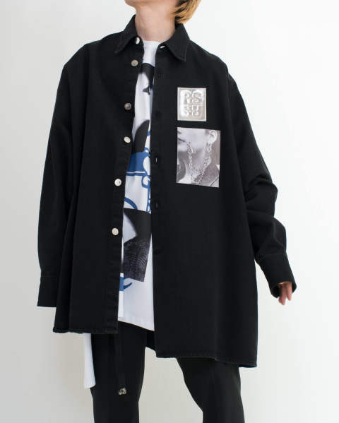 Big fit shirt with two patches Black