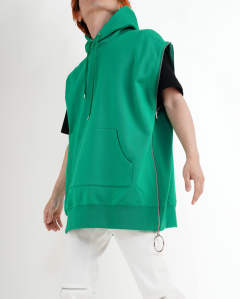 【LAST ONE(M)】zipped sleeveless sweat hoodie green