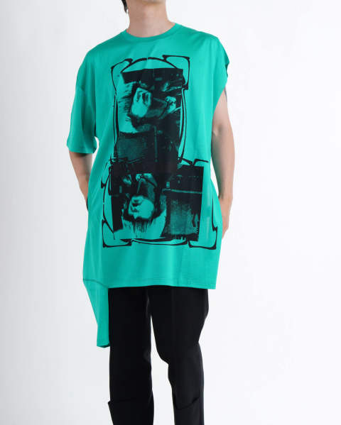 T-shirt with open side Green