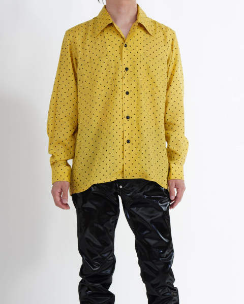 Dot Printed Rayon Open Collar Shirt Yellow
