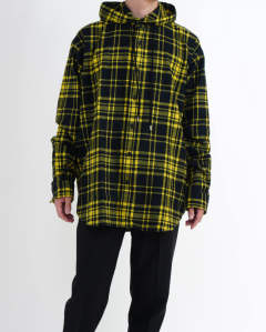 Checked Flannel Hooded Shirt yellow