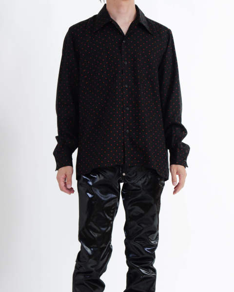 【LAST ONE(46)】Dot Printed Rayon Open Collar Shirt Black Red