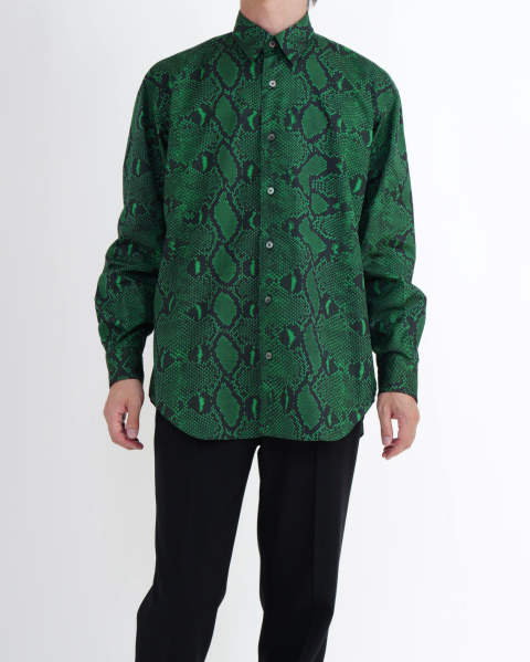 Python Printed Cotton Regular Collar Shirt green