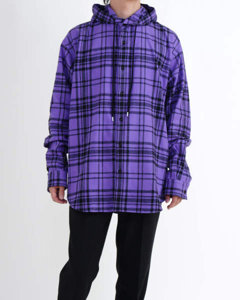 Checked Flannel Hooded Shirt purple