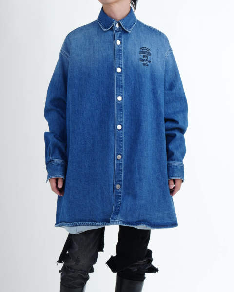 Big fit denim shirt embroidery