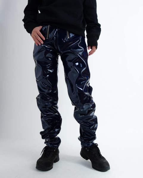 High waisted vinyl trousers w exposed double zips