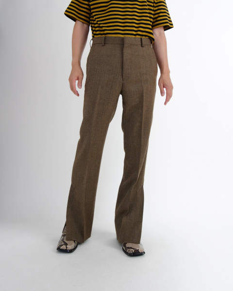 Wool Herringbone Vented Trousers