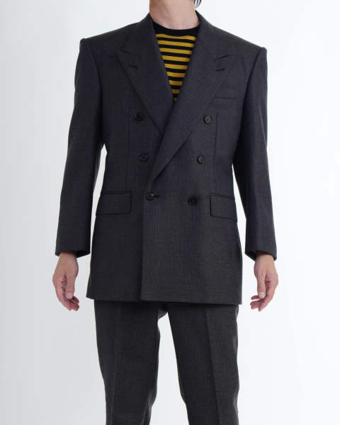 Striped Wool Double Breasted Jacket