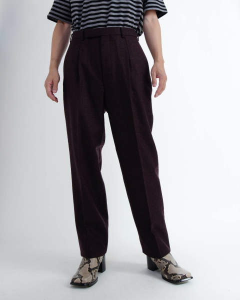 Wool Flannel Pleated Trousers