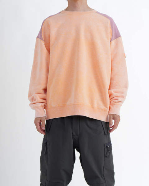 〈LAST ONE(L)〉Overdye Panel Shoulder Crew Neck orange