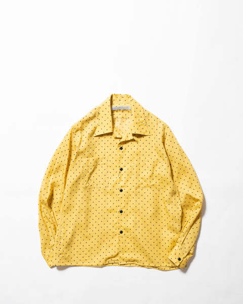 【LAST ONE(44)】Dot Printed Rayon Open Collar Shirt Yellow