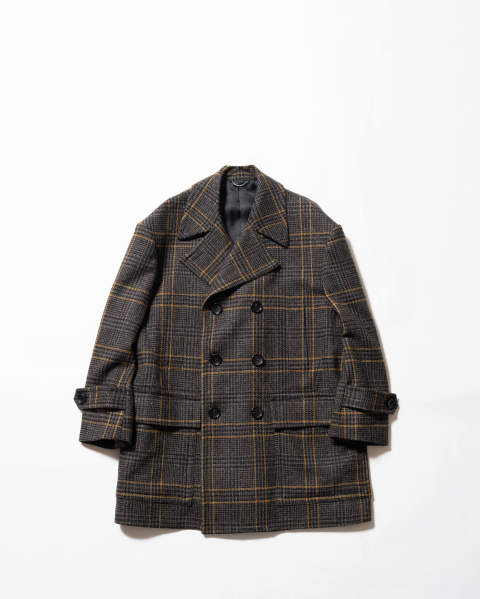 〈LAST ONE(44)〉Checked Tweed Oversized Pea Jacket