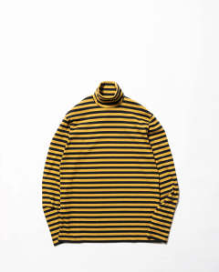〈LAST ONE(L)〉Striped  Cotton Turtle Neck Top Yellow