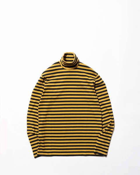 Striped  Cotton Turtle Neck Top Yellow