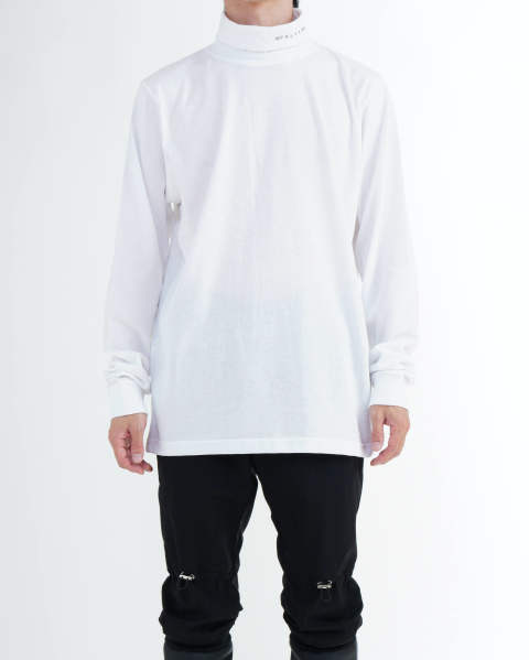 L/S Roll neck tee visual white
