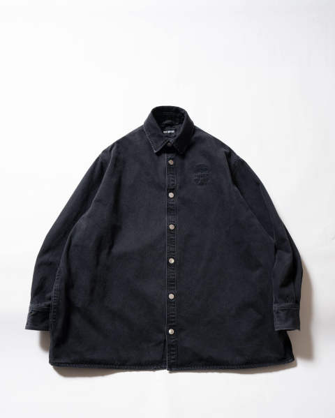 Big fit denim shirt embroidery Black