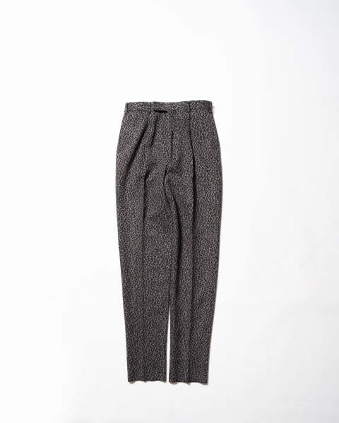 Leopard Flannel Pleated Trousers