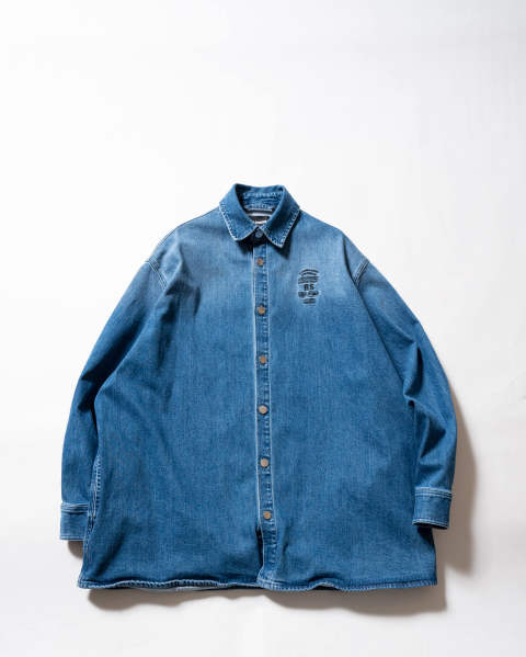 Big fit denim shirt embroidery Indigo