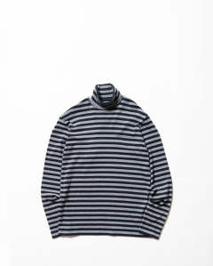 Striped  Cotton Turtle Neck Top Grey