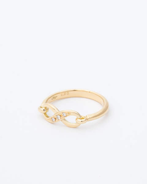 Infinity Band Ring K18 Yellow Gold with Diamond (インフィニティバンドリング)