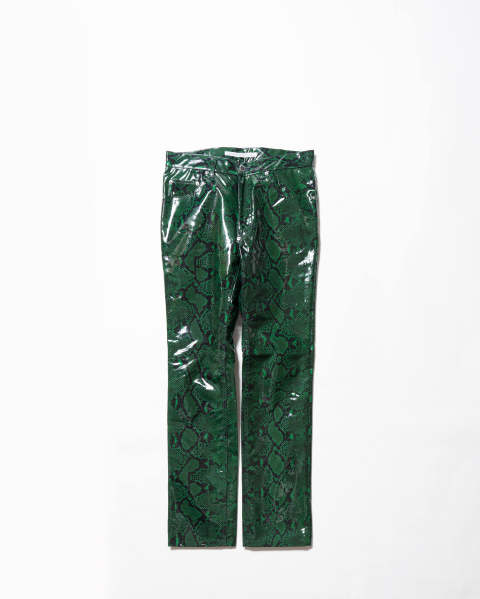 〈LAST ONE(46)〉Python Coated Cotton 5Pocket Pants Green