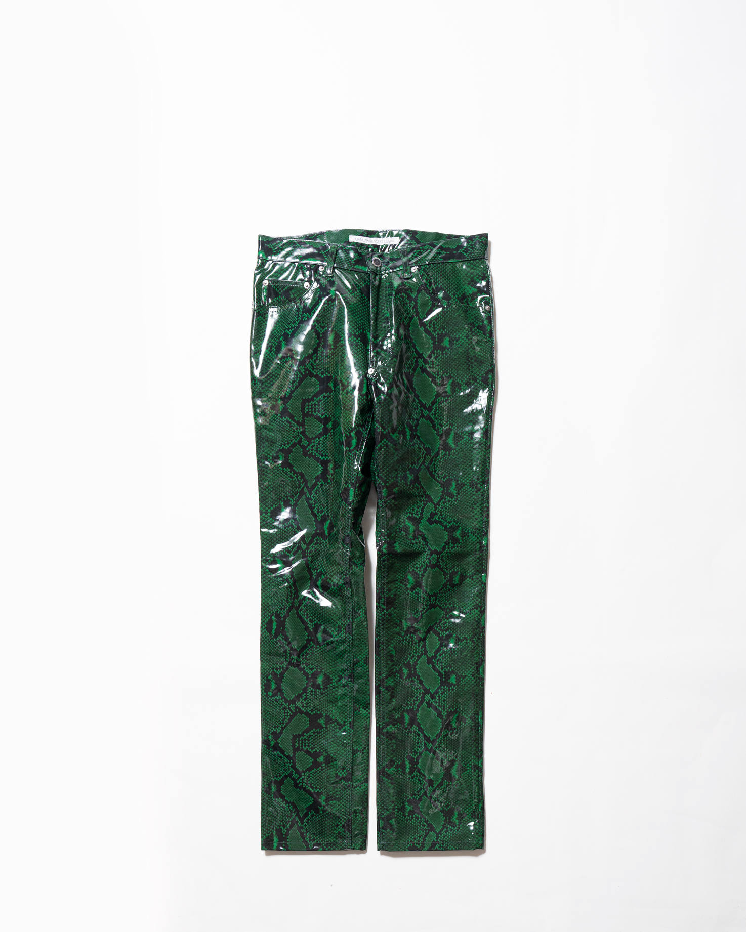 Python Coated Cotton 5Pocket Pants Green