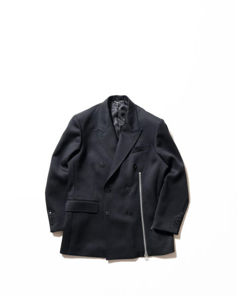 Wool Double Breasted Zipped Jacket