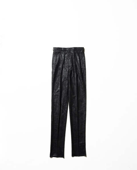 Cracked Coating Tucked Trousers